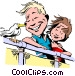 Cartoon couple on vacation Vector Clipart picture