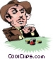 Cartoon card player Vector Clipart picture
