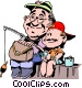 Father and son fishing from Vector Clip Art picture