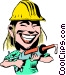 Cartoon construction worker Vector Clipart graphic