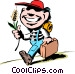 Cartoon hayseed kid Vector Clip Art image