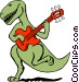 Dinosaur playing the guitar Vector Clip Art image