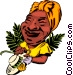 Cartoon Caribbean lady Vector Clipart graphic