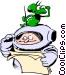Cartoon spacemen Vector Clipart illustration