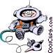Cartoon spacemen Vector Clipart graphic