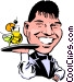 Cartoon waiter Vector Clipart graphic