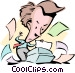 Cartoon man with printer Vector Clipart picture