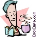Cartoon man with cup of coffee Vector Clip Art picture
