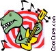 Dinosaur playing guitar Vector Clip Art graphic
