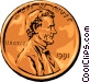 Lincoln penny Vector Clip Art graphic
