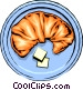 Croissant with butter Vector Clipart graphic