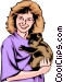 Girl with Koala bear Vector Clip Art graphic