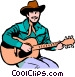 Cowboy playing the guitar Vector Clipart image