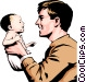 Father & child Vector Clip Art image