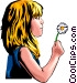Little girl with dandelion Vector Clip Art picture