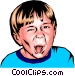 Little boy sticking out his tongue Vector Clipart image