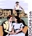 Venetian gondola with couple Vector Clip Art picture