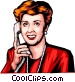 Woman on the phone Vector Clipart graphic