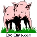 Pigs playing Vector Clip Art picture