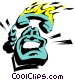 Cartoon phone on fire Vector Clipart illustration