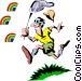 Chasing rainbows Vector Clipart illustration