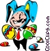 Cartoon Easter bunny Vector Clipart illustration