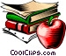 Books with apple Vector Clipart illustration