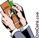 Hands with wallet Vector Clip Art image