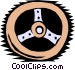 Woodcut steering wheel Vector Clipart picture