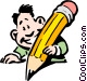 Cartoon man writing Vector Clipart illustration