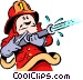 Cartoon fireman Vector Clipart picture