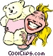 Cartoon woman with teddy bear Vector Clipart graphic