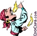 Cartoon flame swallower Vector Clip Art graphic