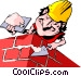 Cartoon bricklayer Vector Clipart illustration