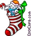 Christmas stocking Vector Clipart illustration