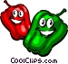 Cartoon peppers Vector Clipart image