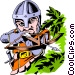Cartoon Medieval guard Vector Clipart picture