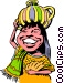 Cartoon native girl Vector Clipart illustration