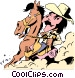 Cartoon cowboy on horseback Vector Clipart graphic