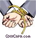 Hands tied with rope Vector Clipart illustration