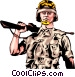 Combat soldier Vector Clip Art graphic