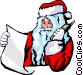 Santa on the phone Vector Clipart graphic