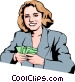 Woman with money Vector Clip Art picture