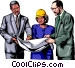 Three people discussing plans Vector Clip Art image