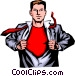Man with shirt open Vector Clipart graphic