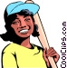 Girl playing baseball Vector Clip Art picture