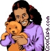Girl with teddy bear Vector Clipart graphic