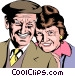 Older couple smiling Vector Clip Art image