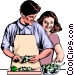 Man & woman preparing dinner Vector Clipart illustration