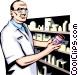 Pharmacist preparing Vector Clip Art graphic